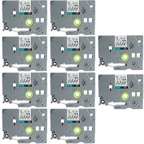 """TZe-131 Label Tape, LaBold Black on Clear Standard Laminated Label Tape 0.47"""" X 26.2'(12mm x 8m) Compatible for Brother P-Touch TZ TZe 131 TZ-131 -Buy from Factory Store: Label Tape World (10)"""