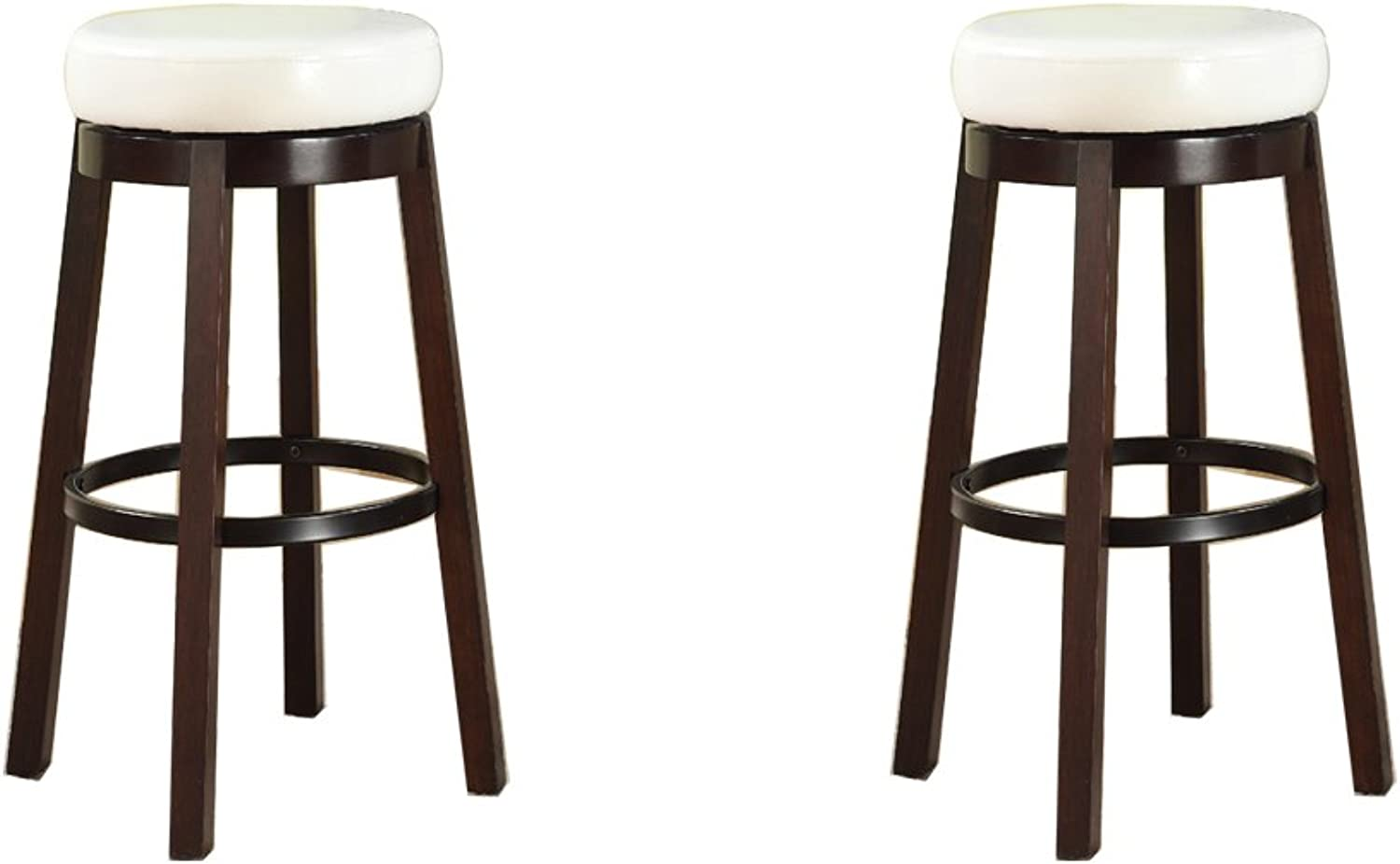 Roundhill Furniture Wooden Swivel Barstools, Bar Height, Snow White, Set of 2