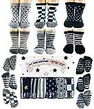 Tiny Captain Toddler Boys Socks -1 Year Old Gripper Socks Best Gift For 1-3 Year Old Boys Anti Slip Non Skid (Stars & Stripes)