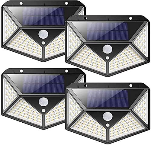 nuosife Solares para Exteriores, Luz Solar Exterior, Lluminacion led Solar, 3 modos de iluminación, iluminación de 270°, 100 ledes, inalámbrica, IP65 impermeable, Jardín, Terraza ect... (4pcs)