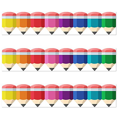 Color Bold Bright Striped Spotted Pencils Border Trim - Bulletin Borders Stickers, 50 ft Back-to-School Decoration Borders for Black Board Trim, Teacher/Student Use for Classroom/School Decoration