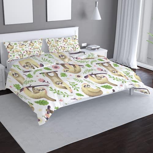 Dibujos animados perezoso impresión 3D de doble cara de funda de almohada de cama doble y juegos de sábanas de tres piezas impreso funda de edredón juegos de cama