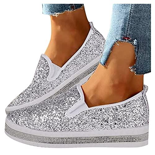 Zapatillas De Running Para Mujer Zapatos De Lentejuelas De Moda Zapatillas Planas Aire Libre Y Deportes Calzado Antideslizante Zapatos Para Correr Zapatos De Un Solo Pedal