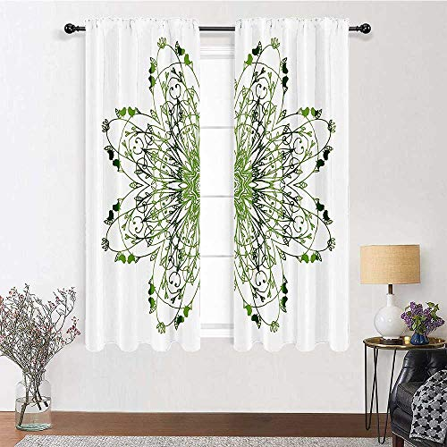 Blackout Curtains 63 inch Length, Celtic Decor Drapes for Living Room 72' x 63' - Oriental Flower Design Circle Pattern with Laurel Leaves and Birds Floral Renaissance Print, Green