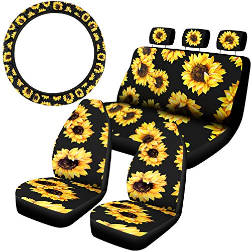 BBTO 8 Pieces Sunflower Car Accessories Set, 7 Pieces Sunflower Car Seat Covers and Car Steering Wheel Cover for Auto Decoration