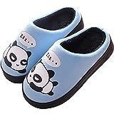 Zapatillas de Estar por Casa para Niñas Niños Otoño Invierno Zapatillas Mujer Hombres Interior Caliente Suave Dibujos Animados Panda Zapatos Azul 37/38 EU = 38/39 CN