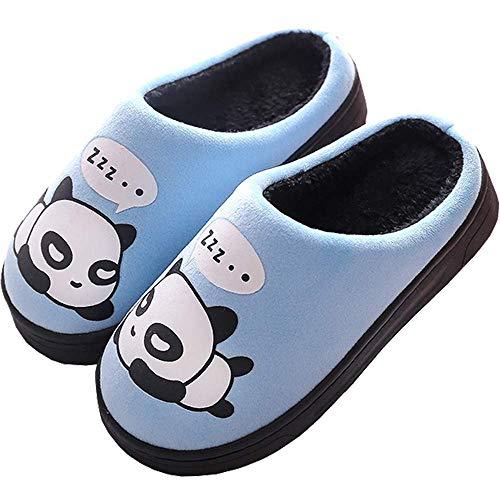 Zapatillas de Estar por Casa para Niñas Niños Otoño Invierno Zapatillas Mujer Hombres Interior Caliente Suave Dibujos Animados Panda Zapatos Azul 33/34 EU = 34/35 CN