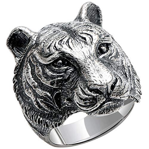 XIRENZHANG Anillo de plata S925 con diseño de tigre vintage y símbolo de la personalidad, 15 # - 28 # 17 #