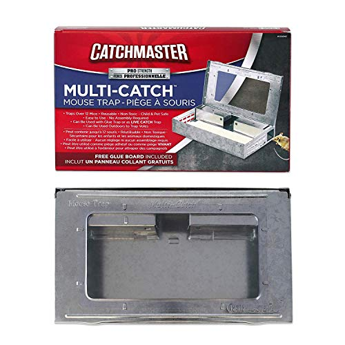 Catchmaster Multi-Catch Indoor/Outdoor Mouse Trap - with Glue Board - Pack of 3 Metal Traps