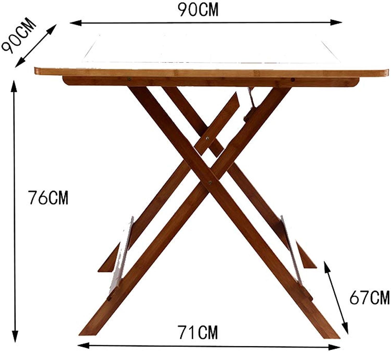 KSUNGB Klapptisch Quadrat Bambus tragbar Multifunktion Esstisch, Computertisch Büro Lernen Schreibtisch Draussen Picknick,Table,90  90  76cm