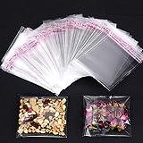 Faburo 500pz Bustine trasparenti per confetti, 7 * 7cm Bustine di plastica con chiusura richiudibile