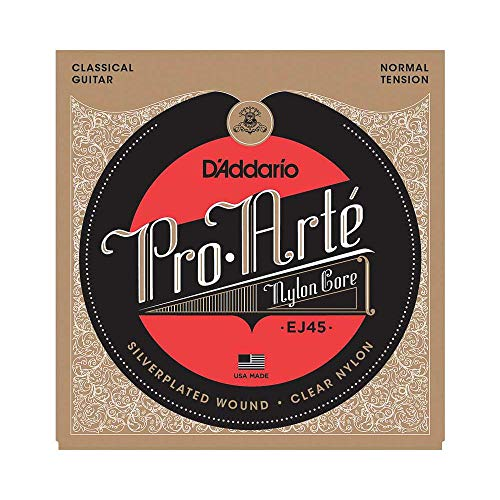 D'Addario Nylonsaiten für Konzertgitarre | INDUSTRY STANDARD MADE IN USA | EJ45 | Versilbertes Kupfer/Nylon | Normal Tension