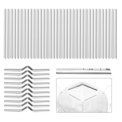 Sopplea Aluminum Strips Nose Wire,85MM Metal Flat Nose Clips Nose Bridge Bracket DIY Wire for Sewing Crafts (100PCS)