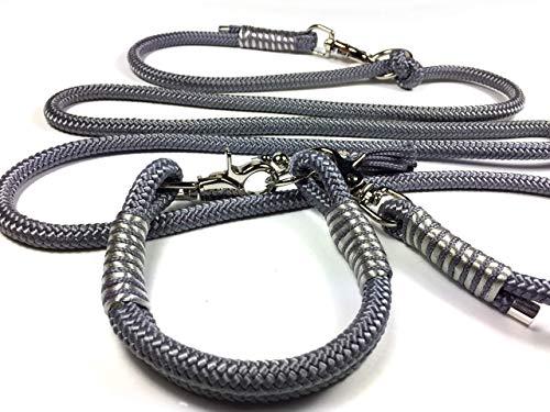 Hundehalsband, Hundeleine oder Set aus Tau, Tauhalsband, für kleine und große Hunde, grau silber