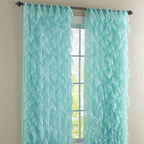 """Rooney 2PC Sheer Voile Ruffled Curtain Panels (Sea, 50"""" X 84"""")"""