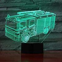 3DイリュージョンランプLedナイトライト消防車モデル7色USBテーブルランプ子供部屋のおもちゃの装飾最高の誕生日ホリデーギフト子供