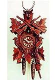 Allemand Horloge coucou (de la Forêt Noire) sculptée avec mouvemente 8 jour - 50 cm - Coucou de la forêt noire authentique - de Hekas