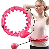 Weighted Smart Fitness Hoops,2 in 1 Abdomen Fitness Massage Adults Weight Loss Exercise Hoop,26 Detachable Knots Adjustable Not Fall Fitness Circle(red)