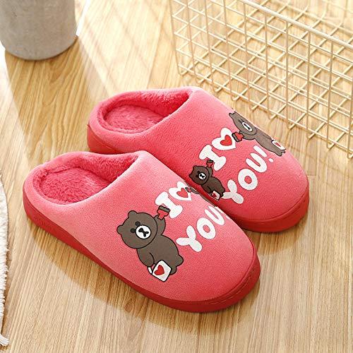 SWX-FlipFlop Zapatillas de algodón Lindas de Dibujos Animados otoño e Invierno Hombres hogar Familia Pareja Antideslizante Mujeres Embarazadas de Interior Arrastre Rojo sandía 42/43