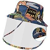 Maylisacc Sombrero Pescador Trap Ajustable, Sombrero con Pantalla Protectora Niños Plegable, Sombrero para el Sol de Algodón Niñas Protección UV, Azul