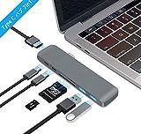 Type-C ハブ 7 in 1 HDMI/タイプ C ハブ Type-C HUB 高速データ USB3.0X2ポート Type C拡張 アルミニ合金ハブ マルチポート搭載 USB3.0高速ハブ アダプター USB コンパクト 薄型 軽便アダプター SD カード / (グレー))