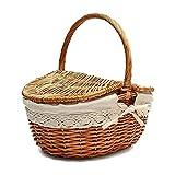 Cesta de almacenamiento Cesta de mimbre hecha a mano con mango, cesta de picnic de camping de mimbre con tapas de doble, cesta de almacenamiento de compras con canasta con tela lin Almacenamiento y de