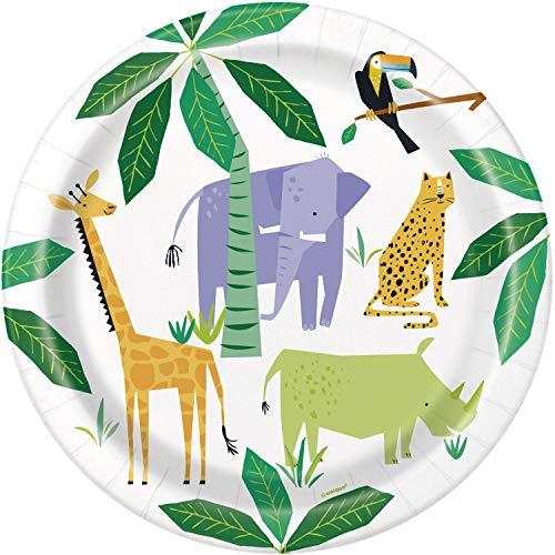 Unique Party- Platos de Papel Ecológicos-23 cm-Fiesta de Safari de Animales-Paquete de 8, Multicolor (73925EU)