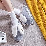 XZDNYDHGX Zapatillas de Casa Invierno Calientes para Hombre,Zapatillas de algodón de Invierno Piel de Conejo Inicio Calzado, Zapatos de algodón de Interior de Fondo Grueso para Mujer Gris EU 37-38