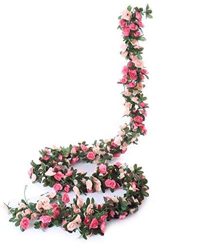 Meiliy Lot de 5guirlandes de roses artificielles avec feuillage de lierre 12,5m