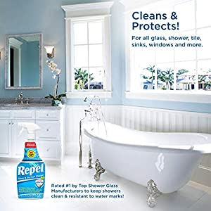 REPEL Glass & Surface Cleaner with antimicrobial barrier 25 fl. oz. - Cleans & Repels water spots and dirt on glass, mirror, tile and multi surface by UNELKO- Clean-X Invisible Shield (2)
