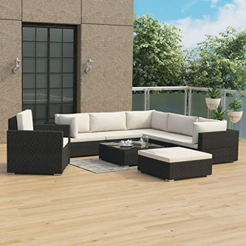 Benkeg Set Muebles de Jardín 8 Piezas y Cojines Ratán Sintético Negro, Conjunto de Comedor de Ratán Conjunto de Muebles de Jardín Conjunto de Sofás de Jardín de Ratán