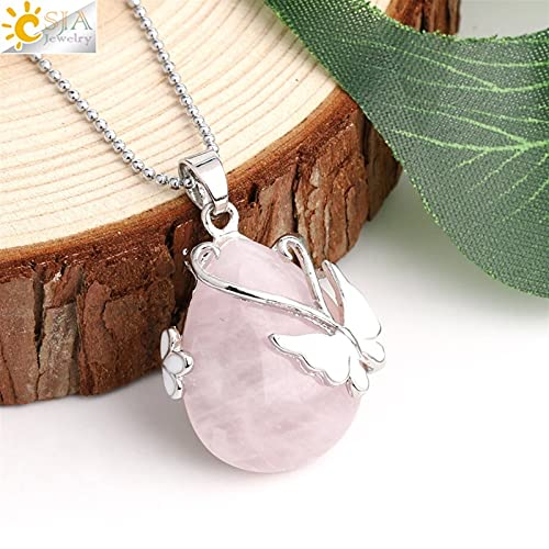 Colgante de Cuarzo Piedra Natural Colgante Pink Crystal Eye Butterfly Flor Colgantes Collar (Metal Color : Rose Quartz Chain)