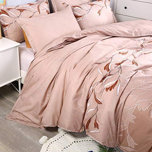 Ethnic Floral Pattern Zipped Long Duvet Cover + Pillowcase Set Microfibre Super Soft 3-Piece Set Vintage bed linen set.,  arrays star, khaki, 140 x 200 cm