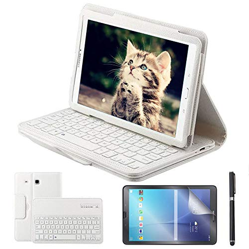 REAL-EAGLE Custodia Galaxy Tab E 9.6 Bluetooth Tastiera con Screen Protector & Stylus, Pelle PU Custodia con Wireless Staccabile Keyboard per Samsung Tab E 9.6 T560 / T561 / T565, White