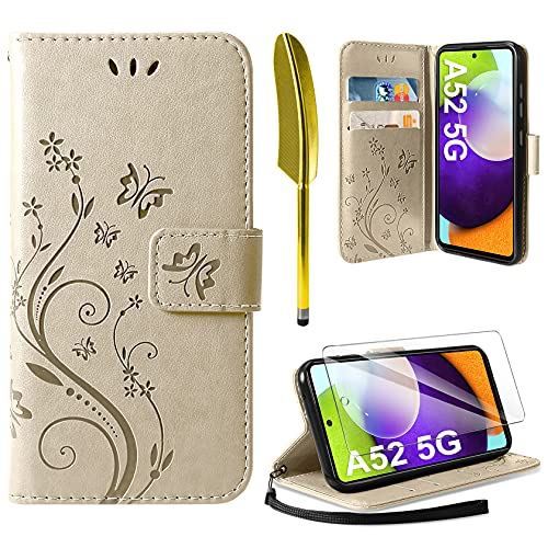 AROYI Lederhülle Kompatibel mit Samsung Galaxy A52 5G/4G/A52S 5G Hülle & Schutzfolie, Flip Wallet Handyhülle PU Leder Tasche Kartensteckplätzen Schutzhülle Kompatibel mit Samsung Galaxy A52 Golden
