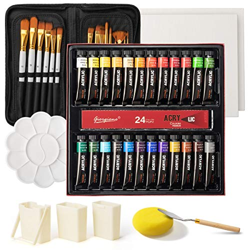 Acrylic Paint Set, 24x12ml/Tube Portable Paint Kit with Premium Paint Brushes, Mixing Knife, Paint Pallet and Sponge, Painting Travel Set Arts Crafts Supplies for Kids Adults