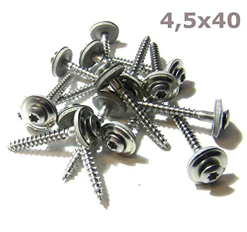 50 Stk. Spenlgerschrauben Edelstahl V2A mit EPDM Dichtscheibe Teilgewinde Torx 4,5x20->4,5x80 (4,5 x 40)