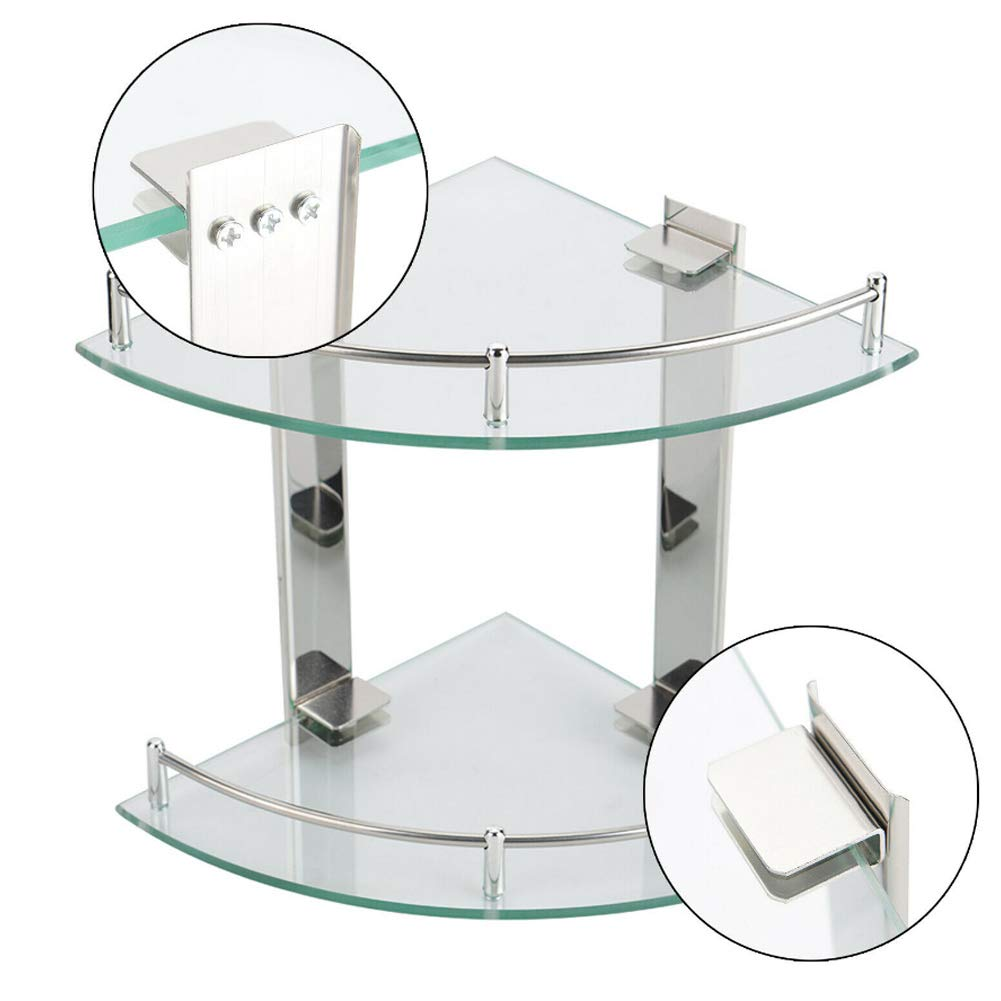 Warmiehomy 2 Tier Bathroom Corner Shelf Bath Organizer Toilet Holder Tempered Glass Shelving Stainless Steel Frame Fan-Shaped Wall Mounted 20x20cm 7.9x7.9in