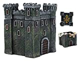 Ebros European French Medieval Castle Fortress With Le Fleur Design Jewelry Box Figurine 5'Tall Fortified Chateau Tower Keepsake Storage Container Renaissance Decor Statue