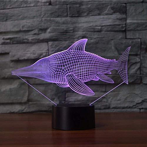 3D Illusion Night Light 7 colores Led Vision Sword Fish The USB Mood Multi o TV Escritorio Escritorio Hogar Dormitorio Decoración Colorido Regalo creativo Control remoto