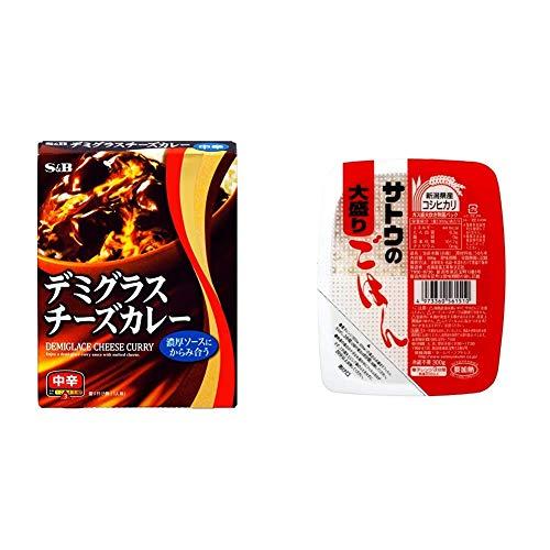 【セット販売】S&B デミグラスチーズカレー 中辛 200g×5個 + サトウのごはん 新潟県産コシヒカリ大盛 300g×6個