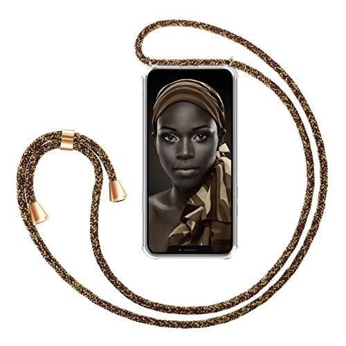 """ZhinkArts Collana Porta Cellulare Compatibile con Apple iPhone 11 - Display 6,1"""" - Custodia da Collo per Smartphone, Nastro - Cover con Cordoncino da Indossare - Oro/Marrone"""