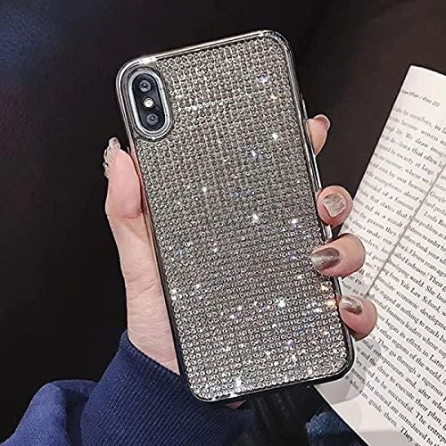 Estuche de electrochapa Suave de Diamantes de imitación de Cristal Completo de Moda para Samsung S8 S9 S10 Plus S20 S10E para iPhone X 11 12 Carcasa, Borde Plateado, para S20 Ultra