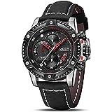 MEGIR Men's Analog Business Quartz Chronograph Watch with Stylish Black Leather Strap Black Big Face for Sports (2130 Black)