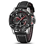 MEGIR Men's Analog Business Quartz Chronograph Watch with Stylish Black Leather Strap Black Big Face...
