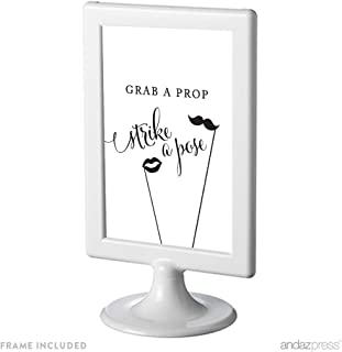 Andaz Press Framed Wedding Party Signs, Black and White Modern Print, 4x6-inch, Grab a Prop & Strike a Pose Photo Booth Sign, 1-Pack, Includes Frame