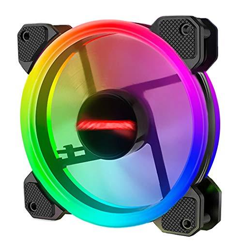 Radiators Ventilador ultra silencioso de alto flujo de aire, Coolmoon, 12 cm, RGB pequeño, 6 pines, ventilador de refrigeración (1 ventilador)