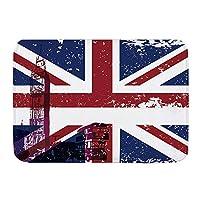 NIESIKKLA バスマット、ロンドンイングランド英国のシンボル赤い電話ブースビッグベンと国旗ユニオンジャック、マット滑り止め ソフトタッチ 丸洗い 洗濯 台所 脱衣場 キッチン 玄関やわらかマット 45x 75cm