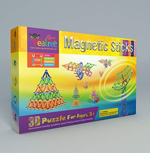 Veatree 145 Pieces Magnetic Building Sticks Building Blocks Set, Magnet Educational Toys Magnetic Blocks Sticks Stacking Toys Set for Kids and Adult, Construction Toys 3D Puzzle with Storage Bag