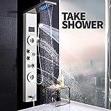Giow Duschsystem Nickel gebürstet Duschsäule Wasserhahn LED-Licht Wandhalterung Bad Badewanne Duschsystem Spa Massage Sprayer Temperatur Bildschirm Zeigen